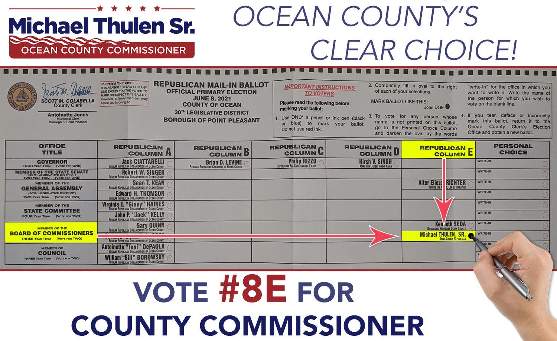 Vote #8E for Ocean County Commissioner